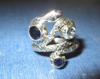 RING  - Snake - SAPPHIRE - Blue TOPAZ - Iolite - Gemstones  - 925 - Sterling Silver - size 6 3/4 -  misc482
