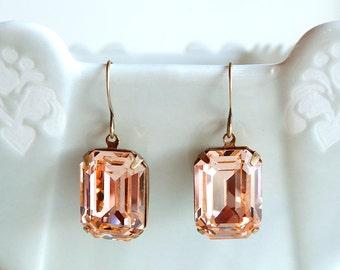 Vintage Swarovski Light Peach Square Octagon Rhinestone Earrings Old Hollywood Bridal Bridesmaids Retro