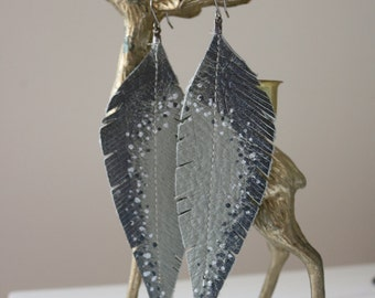 Long Grey, Silver and Gunmetal Hand-painted Reclaimed Leather Feather Earrings