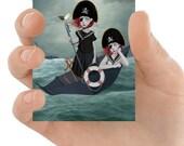ACEO Card | Twin Sisters Aceo Card | Miniature Art Print | Artist Trading Card | Set Sail
