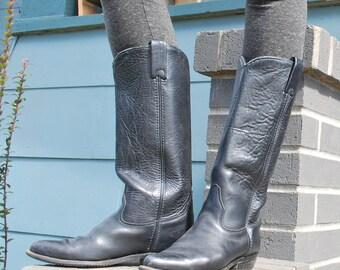 Vintage Women's Tall Black Leather Cowboy Boots Capezio