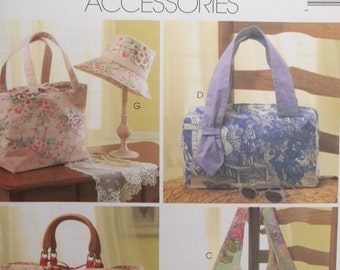 Misses' Fashion Accessories, McCall's M4400 Crafts Sewing Pattern Fashion Purse, Laura Ashley Boho Bag, Pocketed Tote and Hat, Cosmetic Bag
