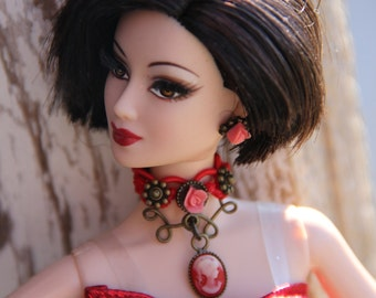 """Cameo Roses Lace Choker Doll Jewelry Set Necklace & Earrings  fits 11 1/2 - 12"""" 1/6th Scale Fashion Dolls Victorian Style"""