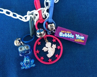 Vintage 80's Plastic Bell Clip Toy Charm Necklace Jewelry Frog with Google Eyes, Bubble Yum Angel and Stars Totally Awesome