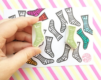 pair of border socks stamps. hand carved rubber stamp. card making for knitting and crochet. winter crafts. set of 2. no3