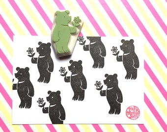 black bear rubber stamp. teddy bear hand carved rubber stamp. woodland animal stamp. gift wrapping. card making. birthday baby shower crafts