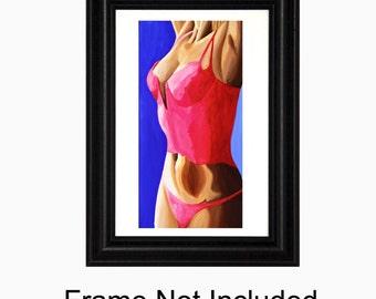 Female Nude, Sexy Bedroom Art, Hot Pink, Female Figure, Sensual, Figurative, Figurative Art, Art Print, Figure Painting, Torso, Titled - Hot