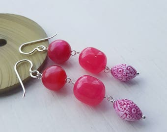 autonomy earrings - vintage lucite and sterling - planned parenthood fundraiser - floral earrings
