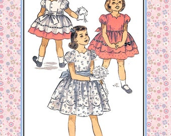 Vintage 1953-SWEET PARTY DRESS-Sewing Pattern-Two Styles-Lovely Scallop Neckline-Hem-Ribbon-Bead Trim-Puff SleevesTie-Bow Back Size 8-Rare
