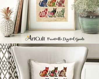 2 Printable Images FLORAL CATS Digital Sheets to print on fabric / paper, Iron On Transfer for tote bags t-shirts pillows home decor framing
