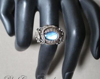Labradorite Size 7 US Sterling Silver Woven Ring - Dark Silver - ON SALE