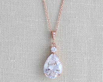 Rose Gold necklace, Crystal Bridal necklace, Wedding jewelry, Bridesmaid necklace Rose gold Wedding necklace Swarovski Crystal drop necklace