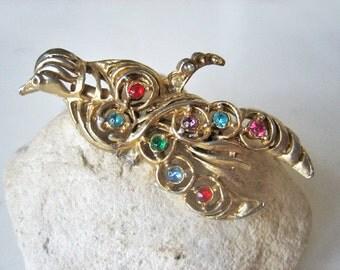 Vintage bird brooch, Vintage gemstone bird brooch, bird pin, Bird of Paradise pin, vintage multi color gemstone bird brooch