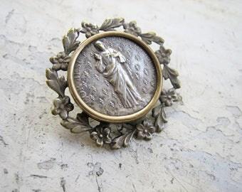 Antique sacred heart of Jesus Medal brooch, Antique religious brooch, Antique French holy medal brooch, Silver heart of Jesus brooch