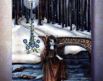 Fantasy Cat Art Winter in the Woods Bridge Lamppost 8x10 Fine Art Print