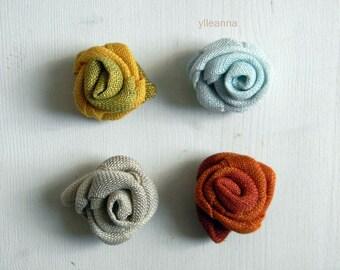 Linen lapel flower. Men lapel pin. Flower stick pin. Rose boutonniere. Men accessories. Neutral, burnt orange, saffron or pale blue.