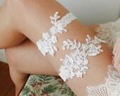 bridal lace garter set, ivory lace garter belt, wedding gift - style #536