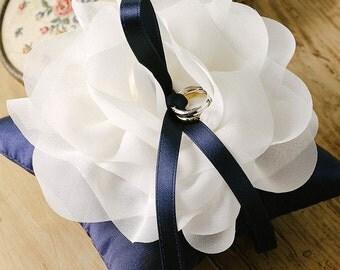 Navy wedding ring pillow, flower ring pillow - Aria