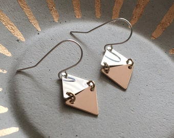 Mixed Metal Tiny Triangles Earrings / Sterling Silver and 14k Gold Filled / Dainty Jewelry / Gifts for Her / Geometric