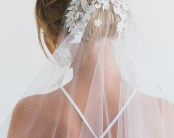 VALENCIA | lace fingertip veil, ivory wedding veil, fingertip veil with blusher