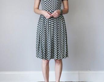60s black & white gingham dress (xs - s)