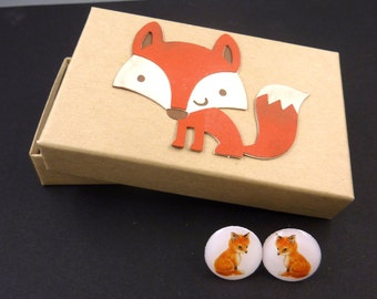 "Fox  Post or Stud Earrings.  With Hand Decorated Box.   Handmade by Me.  5/8"" or 16 mm Round."