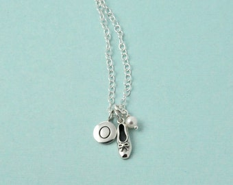 Ballet necklace / Dance necklace / Initial necklace / Sterling silver