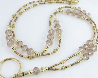 Faceted Light Brown and Topaz Crystal Glass Beaded ID Lanyard, Badge Holder, ID Badge Necklace