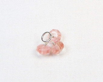 Cherry Quartz Charm Trio - Sterling Silver - Small Pendant - Bracelet Charm - Wire Wrapped - Beaded Jewelry - Natural Stone