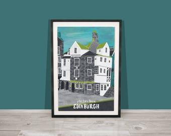 Edinburgh Art Print / John Knox House Art Print / Royal Mile Art Print / Scotland Print / A4 print / Travel Illustration