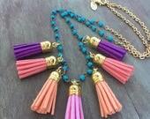 Boho Tassel Necklace, Multi Tassel Necklace, Turquoise Tassel Necklace, Beaded Tassel Necklace, Long Boho Necklace, Multi Colored Tassels