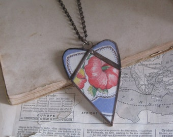Vintage Hanky Heart Necklace Stained Glass Jewelry