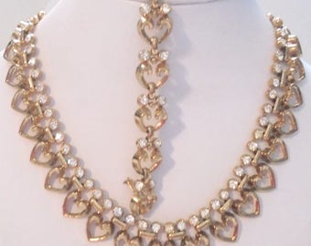 Vintage Trifari Necklace and Bracelet with Heart and Rhinestones