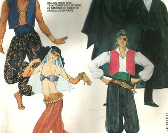 Vintage 80s McCalls 2622 UNCUT Adult Costume Sewing Pattern - Pirate, Dracula,Belly Dancer and Genie Size Large Chest/Bust 40-42