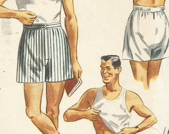 Vintage 50s Simplicity 4149 Mens Boxer Shorts, Underwear Sewing Pattern Size 36