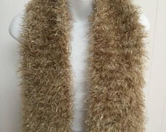 Fabulous Fun Fur Knit Scarf in Gold and Cream Glitter - Plush Soft and Warm C#3