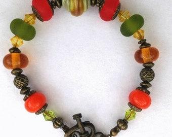 Autumn / Fall Colours 2 lampwork and Bronze Bracelet
