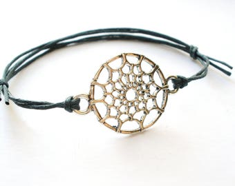 SALE -Silver Dream Catcher bracelet, Dream Catcher anklet or Dream Catcher necklace -Waxed Cotton Cord -Antique Silver Hollow -8 colors
