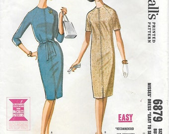 McCall's 6879 1960s Slim Fit Raglan Sleeve Dress Vintage Sewing Pattern Size 12 Bust 32 Easy to Sew