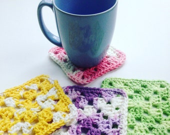 Crochet Cotton Coasters, Mug Rugs, Pastel Cotton Coasters, Lavender, Green, Pink, Yellow, Boho Crochet Home Decor, Granny Square Coasters