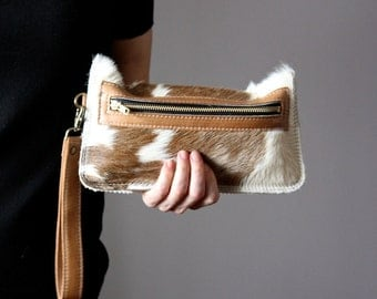 Spotted Cowhide clutch, Cat clutch, hair on hide clutch, unique leather clutch, cowhide wallet, purse, pouch, kitten clutch, cat lady bag