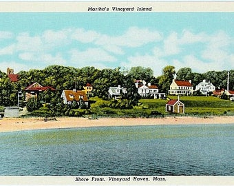 Vintage Martha's Vineyard Postcard - Along the Shore at Vineyard Haven (Unused)