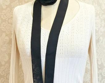 Rose Choker - Rose Scarf - Chiffon Choker - Ribbon Neck Scarf - Chiffon Flower Scarf - Fabric Necklace - Long Chiffon Scarf - Womens Choker