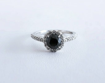 1 Carat Black Diamond Halo Engagement Ring