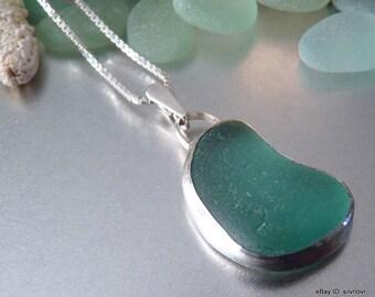 Aqua Sea Glass Pendant Necklace - Genuine California Seaglass & Sterling Silver - SERENITY
