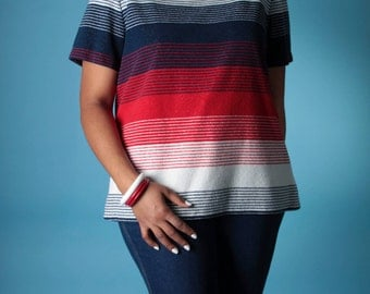 Vintage 60's Sweater // Red White Blue Striped Terry Boatneck Sweater // Vintage Plus Size Sweater (sz L XL)