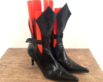 vintage 90s GOTH black leather POINTED TOE tall ankle booties 8 us, 38 eur