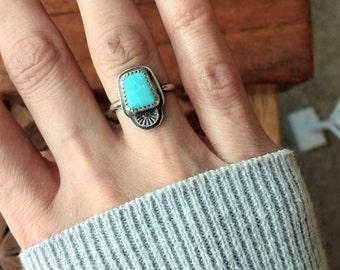 Dainty Turquoise Stacker Ring - Size 5.5 - Stamped Sterling Silver Boho Hippie Ponderbird