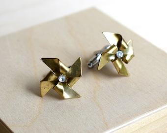 Pinwheel Cuff Links,Gold Pinwheel Cufflinks,Whimsical Toy,Summer Wedding,Retro Childhood Game, Origami Gold Pinwheel Jewelry
