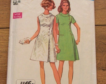 vintage  60s simplicity pattern 8541 misses jiffy easy sew dress  sz 16 b38